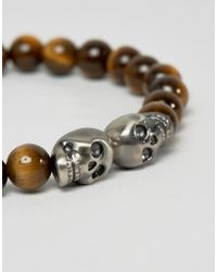 Simon Carter - Brown Tigers Eye Beaded Bracelet With Double Skull Exclusive To Asos for Men - Lyst