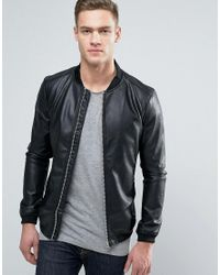 Pull&Bear | Black Faux Leather Bomber Jacket With Perforated Sleeves for Men | Lyst