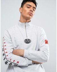 Wasted Paris - Gray Half Zip Sweathshirt With Worldwide Sleeve Print for Men - Lyst