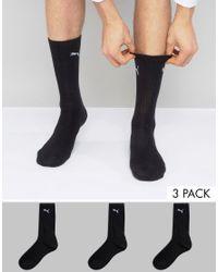 PUMA | 3 Pack Regular Crew Socks In Black 7312200 for Men | Lyst