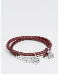 DIESEL | Red A-lucy Wrap Leather Bracelet In Burgundy | Lyst
