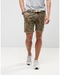 Bellfield | Green Overdye Floral Print Short With Belt for Men | Lyst
