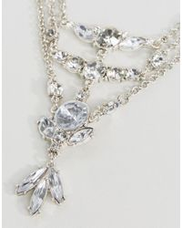 ASOS - Metallic Statement Crystal Layered Choker Necklace - Lyst