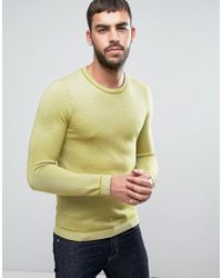 Ted Baker | Yellow Long Sleeve Textured Crew Neck Knit for Men | Lyst