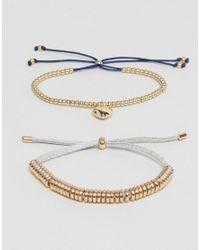 Estella Bartlett - Metallic Anna Grey & Liberty Navy Duu Gold Plated Bracelet Pack - Lyst