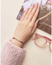 Dogeared - Metallic Gold Plated Linked Hearts On Rainbow Silk Adjustable Bracelet - Lyst