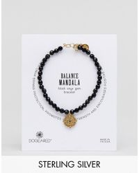 Dogeared - Gold Plated Balance Mandala Inner Strength Black Onyx Bracelet - Lyst