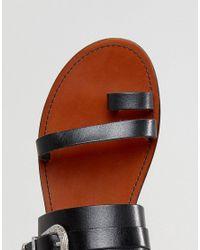 Pull&Bear - Black Western Buckle Sandal - Lyst
