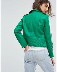 Mango - Green Leather Look Biker Jacket - Lyst