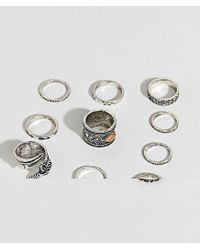 ASOS - Metallic Ring Pack With Stone Interest And Feather In Burnished Silver for Men - Lyst
