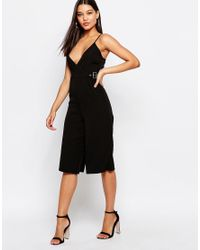 Missguided - Black Cami Cullotte Playsuit - Lyst