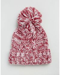 Alice Hannah - Red Marl Chunky Knit Cable Stitch Beanie Hat - Lyst