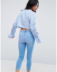 ASOS - Blue Cotton Crop Top With Tiered Sleeve - Lyst