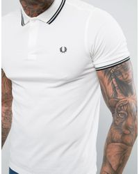 Fred Perry - Slim Fit Twin Tipped Polo Shirt White for Men - Lyst