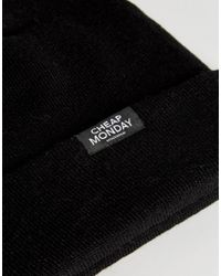 Cheap Monday - Logo Tab Beanie In Black - Lyst