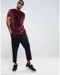 ASOS - Red Longline T-shirt In Oxblood Velour for Men - Lyst
