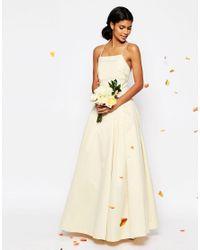 ASOS - White Bridal Extreme Sateen Maxi Prom Dress - Lyst