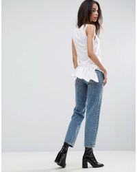 ASOS - White Sleeveless Top With Shirting Hem - Lyst