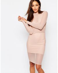 Missguided - Pink Mesh High Neck Bodycon Dress - Lyst