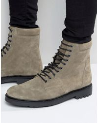 ASOS | Gray Military Boots In Grey Suede And Black Sole for Men | Lyst