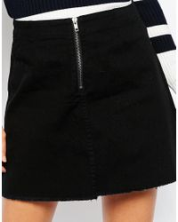 Pieces - Black Varinka Raw Edge Denim Skirt - Lyst