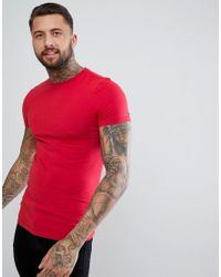 ASOS Muscle Fit T-shirt With Crew Neck In Red for men