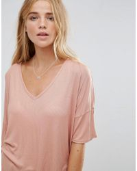 ASOS - Pink Slouchy Oversized T-shirt In Rib - Lyst
