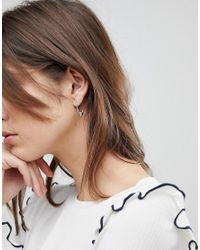 Pieces - Metallic Drop Multi Hoop Earring - Lyst