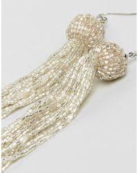 ASOS | Metallic Silver Bead Tassel Earrings | Lyst