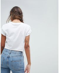 ASOS - White Crop T-shirt With Vintage Cherry - Lyst