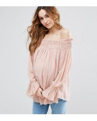 ASOS | Pink Tall Off Shoulder Top With Shirring | Lyst