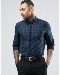 ASOS | Blue Shirt In Navy Blackwatch Check With Long Sleeves for Men | Lyst