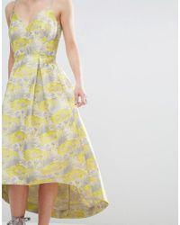 ASOS - Purple Salon Beautiful Floral Jacquard Midi Prom Dress - Lyst