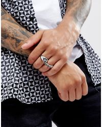 ASOS - Metallic Skull Ring Pack In Burnished Silver for Men - Lyst