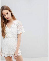 e2e68fce0a Glamorous Lace Wrap Playsuit - Lyst