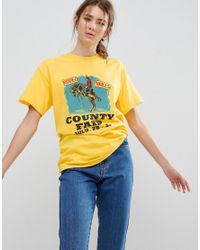 Daisy Street - Yellow Boyfriend T-shirt With Rodeo Print - Lyst