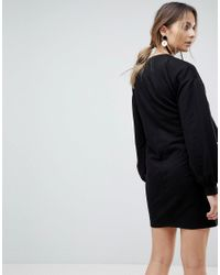 ASOS - Black Nursing Sweat Dress With Woven Overlay - Lyst
