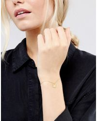 ASOS - Metallic Gold Plated Sterling Silver Square Tag Chain Bracelet - Lyst