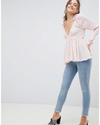 ASOS Pink Swing Top With Ruffle Shoulder