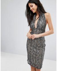 Love - Multicolor Lace Halterneck Pencil Dress - Lyst