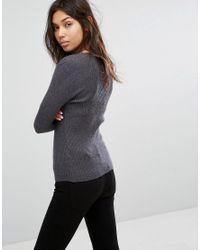 Pieces - Gray Vesla Knit Jumper - Lyst