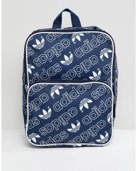 94851adcea adidas Originals Classic Medium Backpack In All Over Logo in Black ...