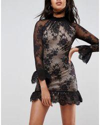 ASOS - Black High Neck Open Back Lace Mini Dress - Lyst