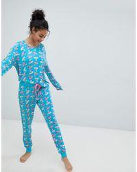 Chelsea Peers - Blue Inflatable Flamingo Long Pyjama Set - Lyst