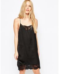 SELECTED - Black Love Lace Trim Dress - Lyst