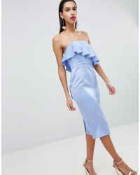 ASOS - Blue Asos Soft Bandeau Ruffle Crop Top Pencil Midi Dress - Lyst