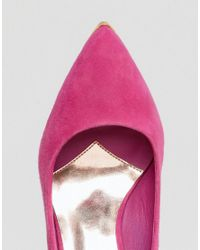 Ted Baker - Jesamin Pink Suede Bow Cutout Pumps - Lyst