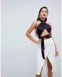 ASOS - Black Design Sexy Wrap Halter With Tie Detail - Lyst