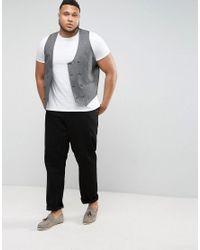 ASOS - Plus Wedding Skinny Suit Vest In Woven Texture In Slate Gray for Men - Lyst