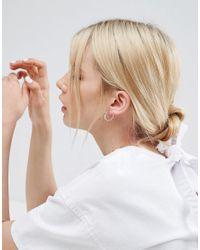 ASOS - Metallic Sterling Silver 20mm Chain Tube Hoop Earrings - Lyst
